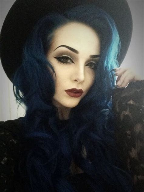 black midnight blue hair nu goth kelsey herbst make up pinterest midnight