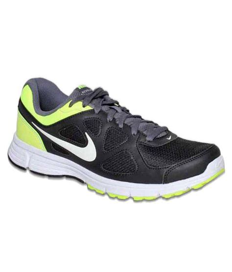 buy nike revolution black lime green running shoes for