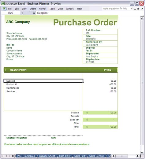 Template Purchase Order Microsoft Excel Purchase Order Template