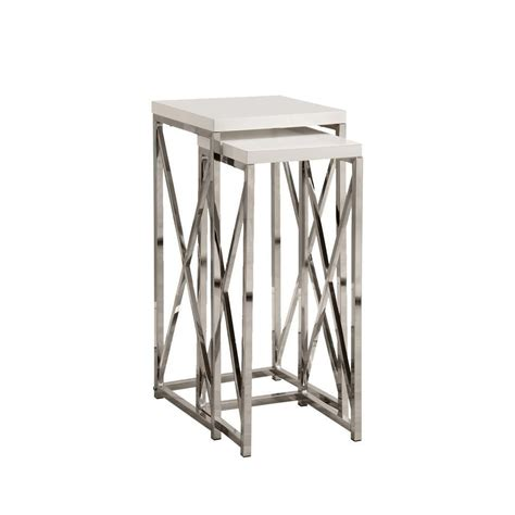 glossy white chrome metal accent table monarch specialties accent table 2pcs set glossy white