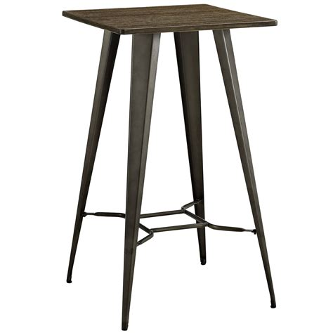 bar top table direct industrial bamboo top bar table with steel legs brown