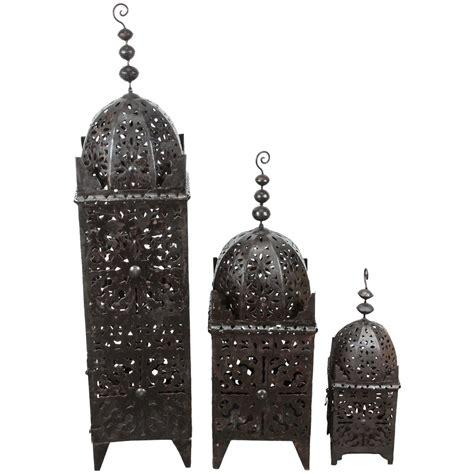 Set Of Three Candle Lanterns Set Of Three Large Moroccan Metal Candle Lanterns For Sale