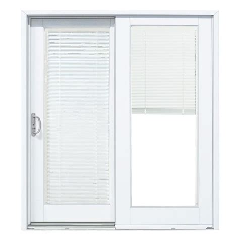 Wood Patio Doors With Built In Blinds Mp Doors 72 In X 80 In Smooth White Left Composite Dp50 Sliding Patio Door With Built In