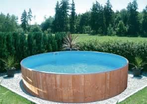 runder pool im garten rundpool swimming aus holz holzverkleidung