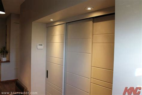 closet door rail system by pass system by k n crowder sliding door manufacturer used here for a closet opening