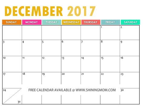 printable free december 2017 calendar the free printable 2017 calendar by shining mom