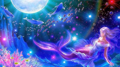 the mermaid background all new wallpaper mermaid moon widescreen hd