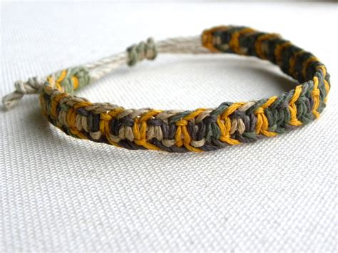 Cool Hemp Knots - s hemp macrame bracelet camo and yellow hemp