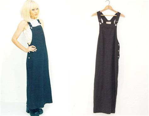 Maxi Overall 1 90s black linen overall maxi dress from idlized on etsy
