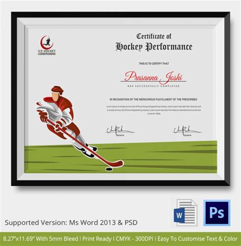 powerpoint templates free download hockey hockey certificate template 9 free word pdf documents