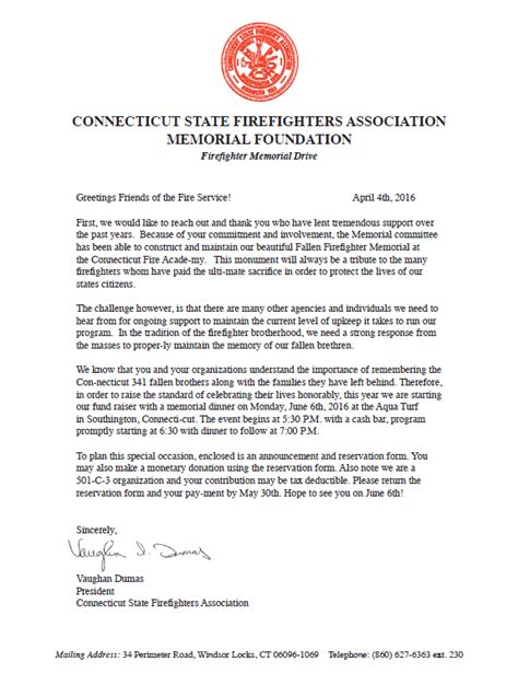 Fundraising Dinner Letter csfa seeks support to restore ct firefighters memorial