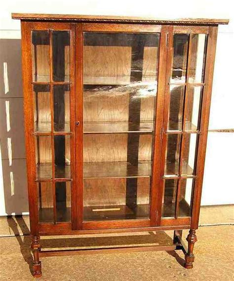 antique oak china cabinet curved glass home furniture design