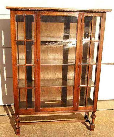 Antique Oak China Cabinet Curved Glass   Home Furniture Design