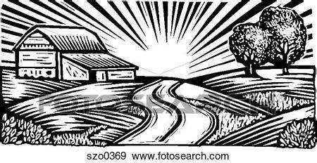 clipart bianco e nero archivio illustrazioni scena rurale bianco e nero