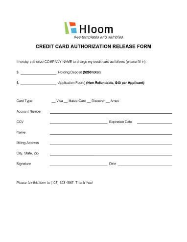 authorization letter to charge credit card credit card authorization forms hloom