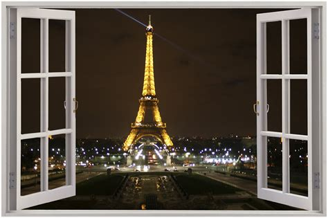 Wall Murals Eiffel Tower 3d Window View Eiffel Tower Wall Sticker Mural