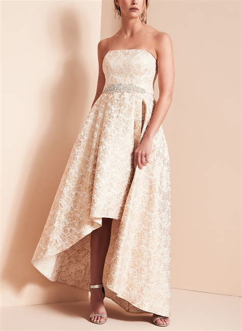 high low beaded brocade gown free shipping melanie lyne