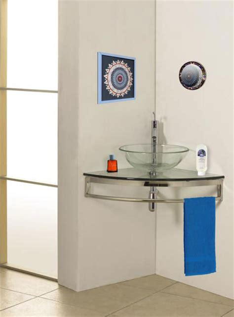 corner bathroom sink and cabinet wall mount corner glass vanity modern bathroom