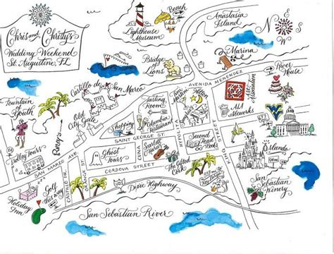 alligood map of st augustine black and white