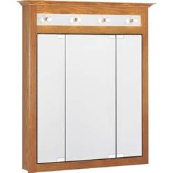 mirrored medicine cabinet with lights shop project source 31 75 in x 36 in rectangle surface oak