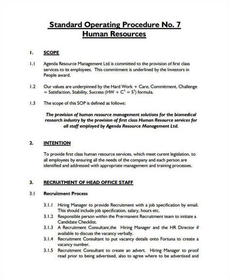 hr sop template 45 sop formats