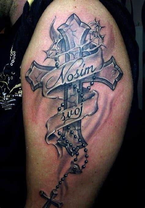 cross tattoo on upper arm tattoo cross with scripture upper arm tattoo tattooed