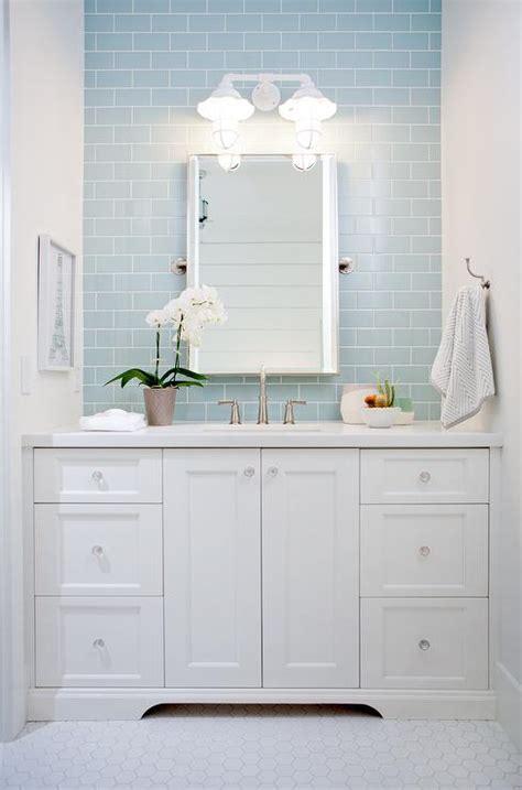 Light Blue And White Bathroom Ideas by White Bath Vanity With Blue Subway Tile Backsplash
