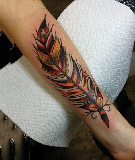 tattoo feather old school tatouage plume