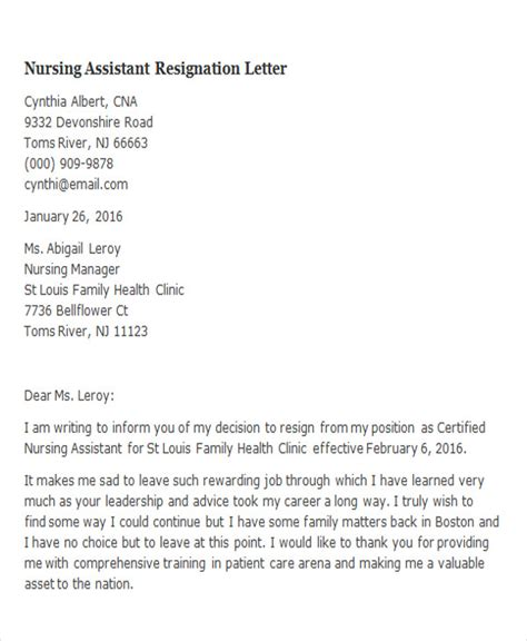 resignation letter for nurses with reason image collections