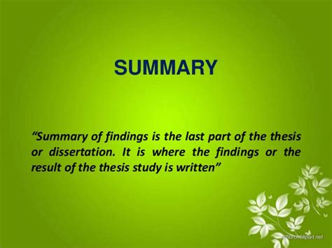 what is the thesis statement summary and conclusion