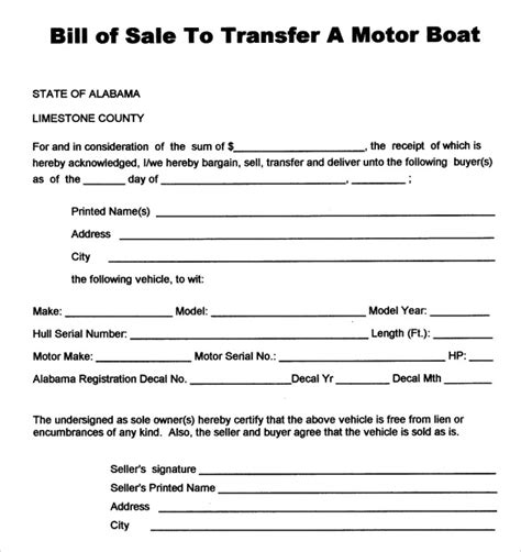 boat bill of sale template free boat bill sale template