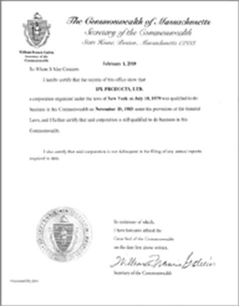 Food St Verification Letter Massachusetts Massachusetts Standing Certificate Massachusetts Certificate Of Existence