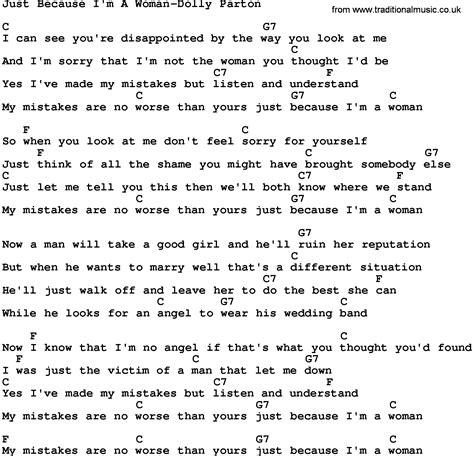 i m a lyrics country just because i m a dolly parton lyrics and chords