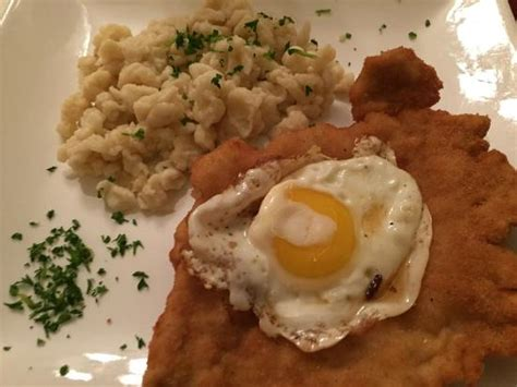schnitzel zwiebein and potato pancake picture of