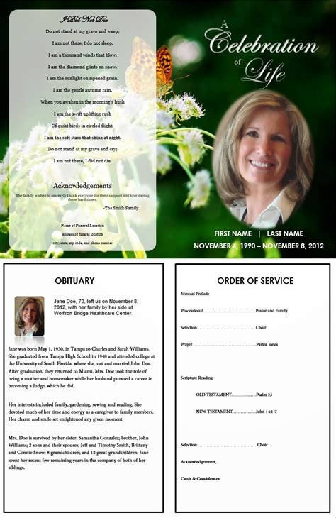 Memorial Program Templates Free the funeral memorial program free funeral program