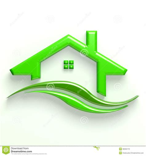 sustainable house 3d sustainable house sustainable house 3d green house wave logo stock photo image 36592170