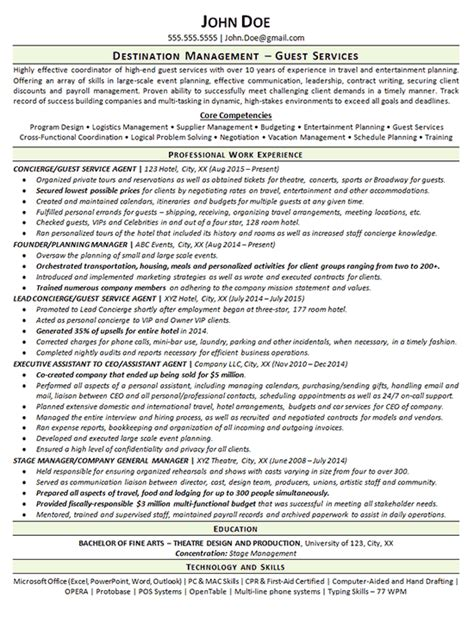 Sales Agent Resume Sample by Concierge Resume Example Guest Services Agent