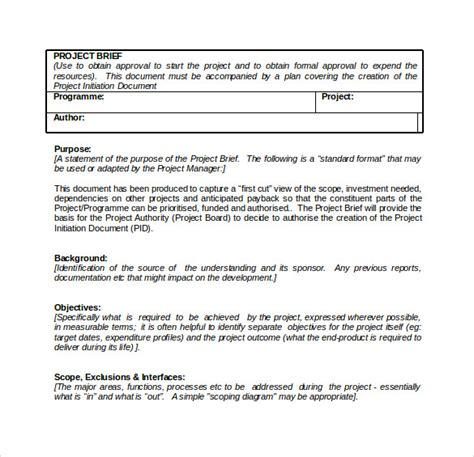 Simple Briefformat Sle Project Brief Template 7 Free Documents In Pdf Word