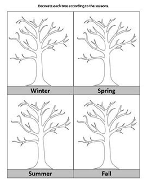 coloring pages trees four seasons tree seasons science pinterest