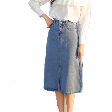 popular denim skirts calf length buy cheap denim skirts