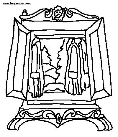 Witch Wardrobe Colouring Pictures
