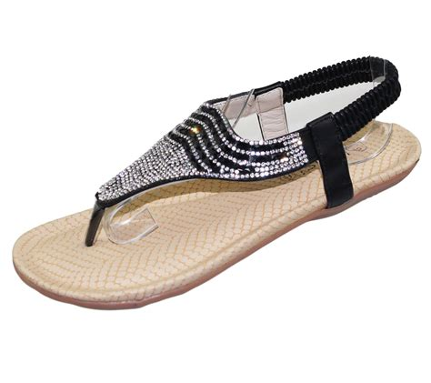 flat soled shoes womens flat sandals diamante toe post summer