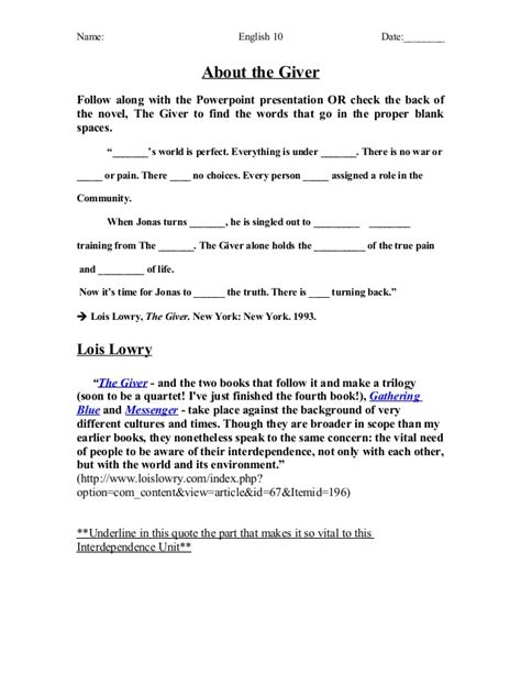 """About Lois Lowry's """"The Giver"""" (Pre-Reading Handout)"""