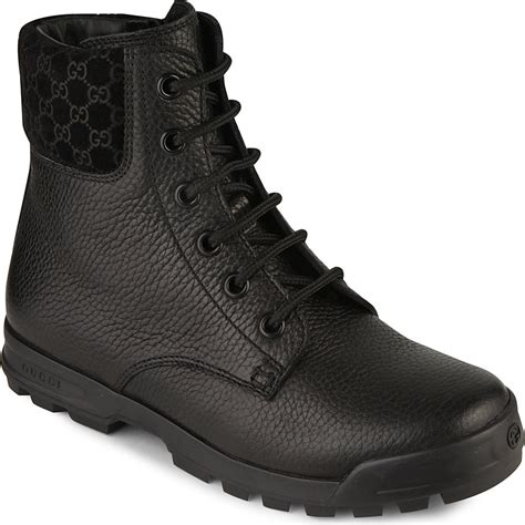 gucci leather biker boots in black for lyst
