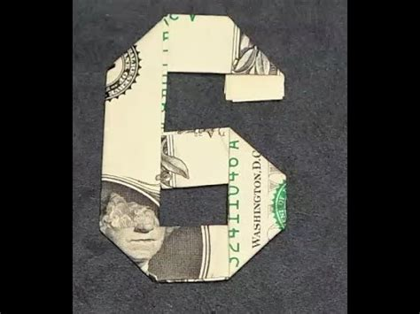 How To Make Origami Numbers - fold origami dollar bill number 6