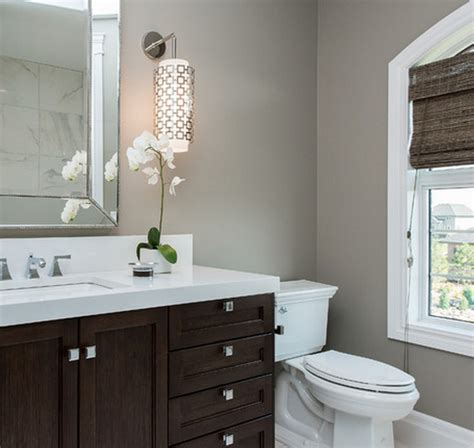 bathroom gray walls espresso vanity contemporary bathroom atmosphere