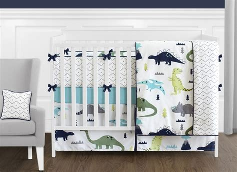 Blue And Green Mod Dinosaur 9 Piece Baby Boy Or Girl Blue And Green Crib Bedding Sets