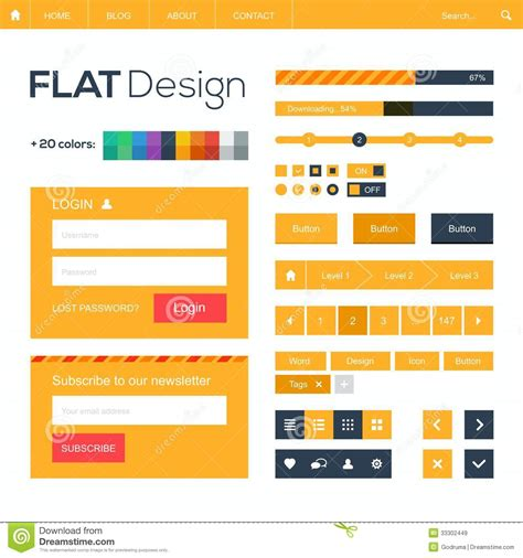 design online mobile flat web and mobile design elements and icons stock