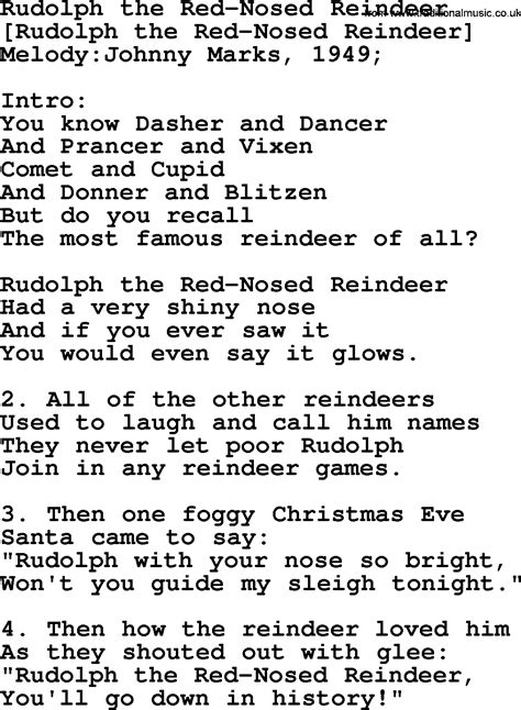 printable lyrics to rudolph the red nosed reindeer old american song lyrics for rudolph the red nosed
