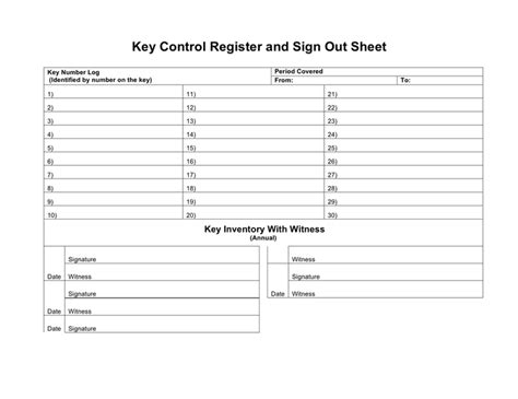 key control register and sign out sheet in word and pdf